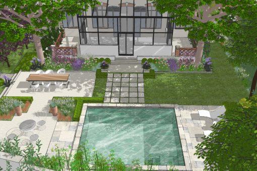 Jardin de ville pour hôtel particulier