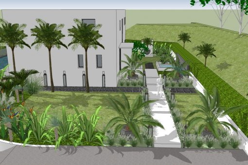 Jardin californien pour maison contemporaine
