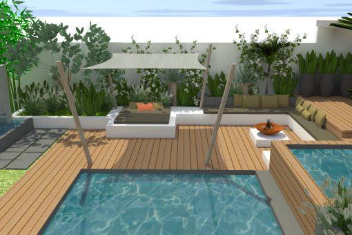 Abords de piscine pour une construction neuve