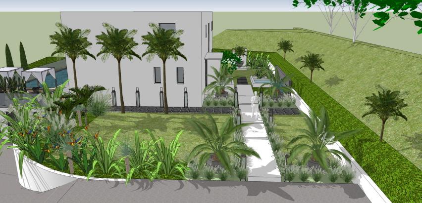 Jardin californien pour maison contemporaine - Conceptuelles